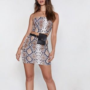 Nasty Gal Snake Print Skirt Set